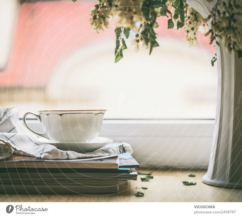 Tea cup at the window Beverage Hot drink Hot Chocolate Coffee Cup Lifestyle Style Design Relaxation Summer Winter Living or residing Dream house Window Vase