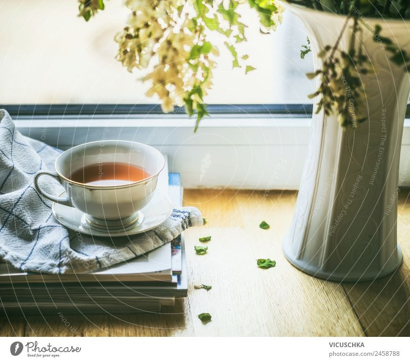 Still life with cup of tea at the window Beverage Hot drink Tea Cup Lifestyle Style Design Relaxation Summer Winter Living or residing Flat (apartment)