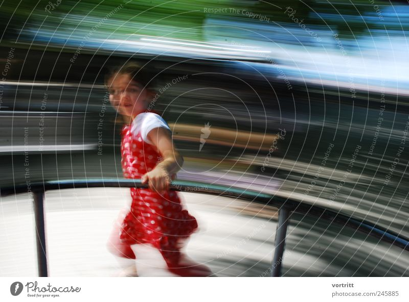 Human being Child Blue Green Red Girl Playing Gray Movement Dream Infancy Leisure and hobbies Walking Running Dress Rotate