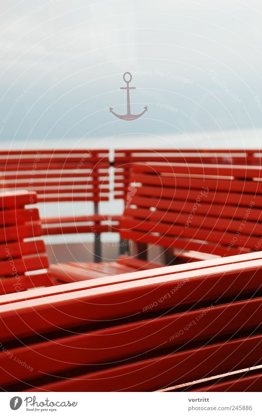 ahoy Means of transport Navigation Steamer Anchor On board Wood Red Bench Sky Deck Lake Fog Structures and shapes Colour photo Subdued colour Exterior shot