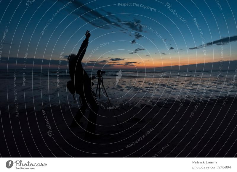 passion Joy Senses Vacation & Travel Beach Ocean Human being Masculine Man Adults 1 45 - 60 years Environment Water Sky Night sky North Sea Movement Esthetic