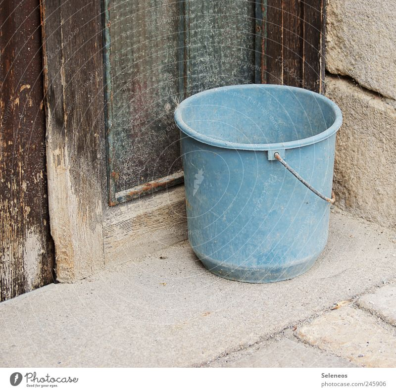 blue bucket Living or residing House building Redecorate Gardening Workplace Agriculture Forestry Industry Craft (trade) Bucket Wood Plastic Old Orderliness