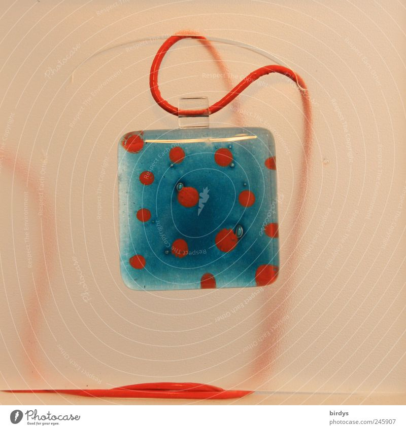 Arts and crafts Elegant Style Design Exhibition Work of art Glass String Esthetic Beautiful Original Blue Red Creativity Presentation Square Pendant red ribbon