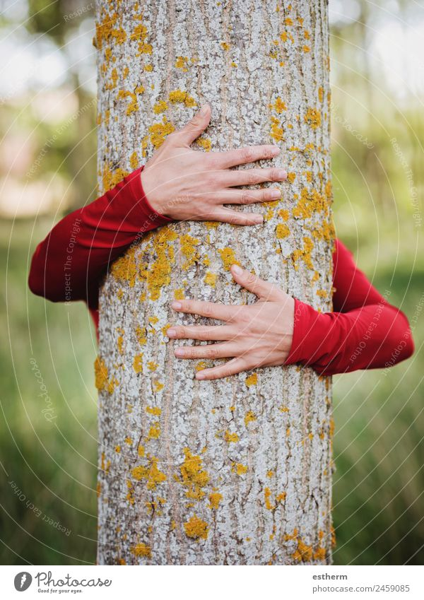 hands of woman hugging a tree Woman Human being Nature Youth (Young adults) Young woman Landscape Hand Tree Loneliness Forest Adults Life Environment Love