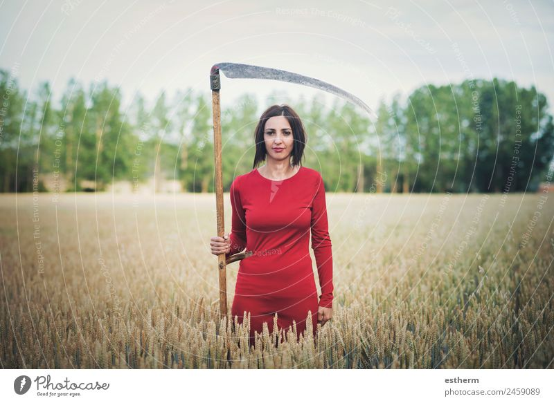 beautiful and mysterious girl with scythe Elegant Beautiful Freedom Hallowe'en Human being Feminine Young woman Youth (Young adults) Woman Adults 1