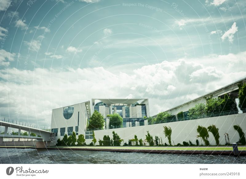 chancellery Tourism Sightseeing Culture Environment Sky Clouds Weather River bank Capital city Architecture Tourist Attraction Landmark Stone Blue