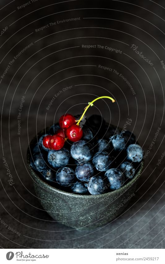 Blueberries and currants in dark skin Food Fruit Blueberry Redcurrant Nutrition Organic produce Vegetarian diet Bowl Dark Delicious Sour Sweet Green Black moody