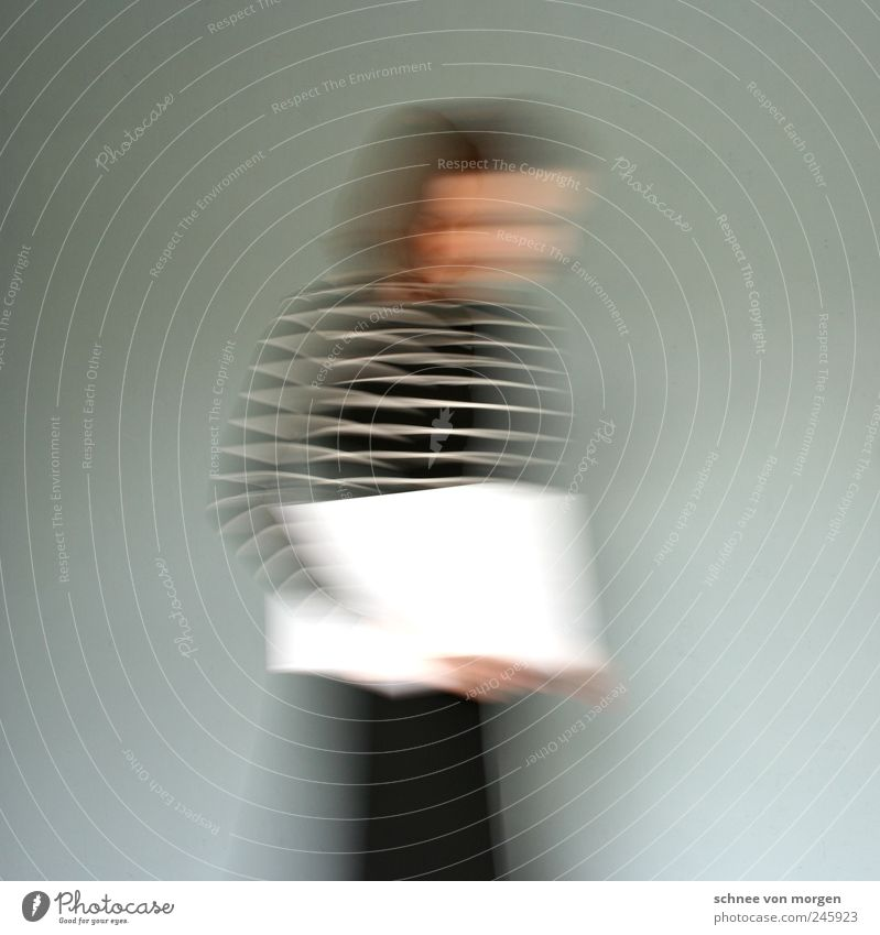 movement Woman Adults Book Stripe Movement Going Walking Speed Gray White Wall (building) Subdued colour Interior shot Experimental Abstract Long exposure Blur