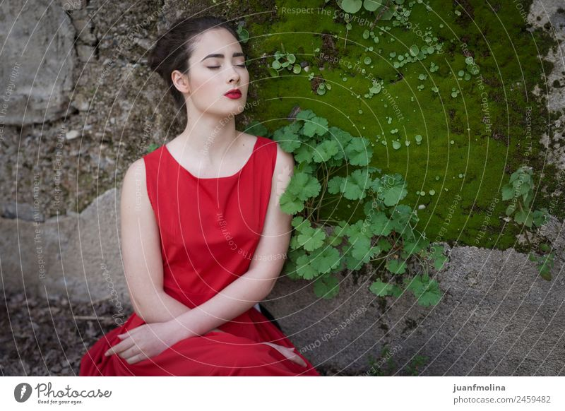 Melancholic girl with red dress in nature Woman Nature Youth (Young adults) Young woman Summer Beautiful Green Red 18 - 30 years Face Adults Sadness Style