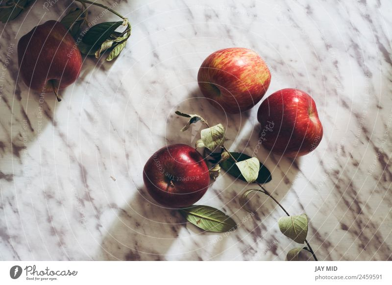 Juicy apples, on marble table Food Fruit Apple Nutrition Breakfast Organic produce Diet Juice Style Table Group Nature Fresh Delicious Natural Red Raw marmol
