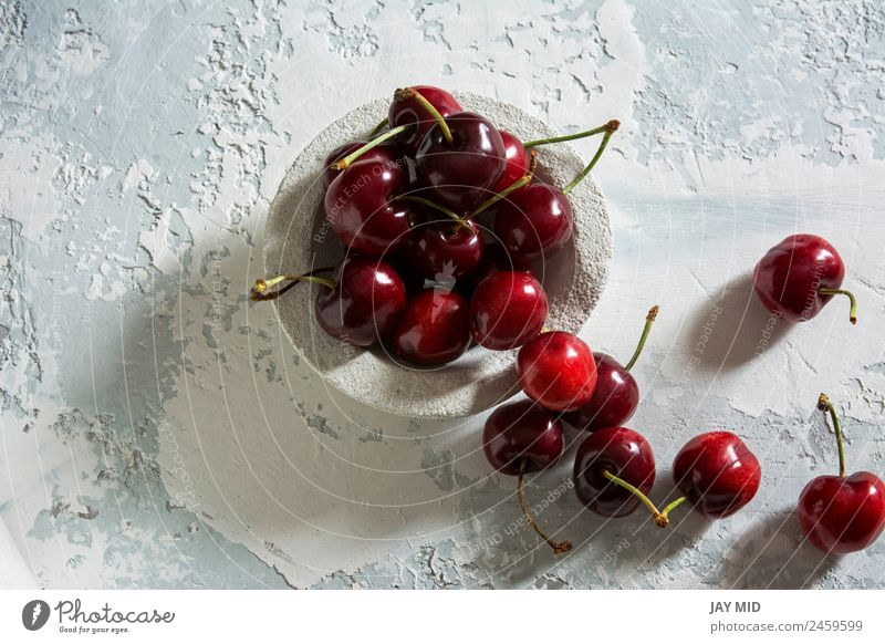delicious cherries Food Fruit Dessert Candy Nutrition Breakfast Vegetarian diet Plate Bowl Style Table Nature Leaf Fresh Glittering Bright Delicious Above Juicy