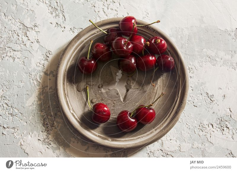 delicious cherries, overhead Food Fruit Dessert Nutrition Lunch Organic produce Vegetarian diet Plate Style Healthy Summer Table Nature Leaf Fresh Bright