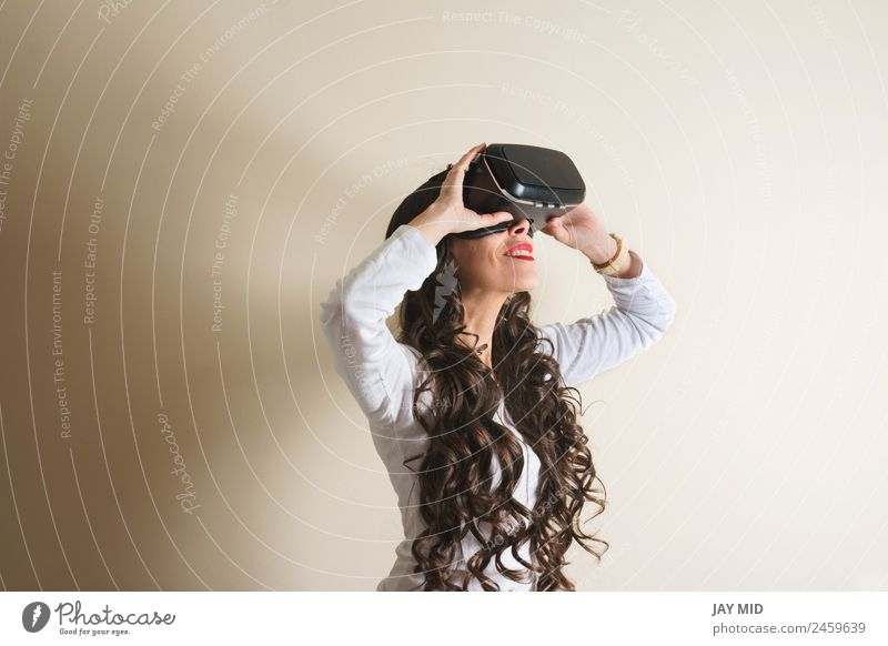 woman with glasses of virtual reality vr Virtual Really Woman Headset Cellphone Entertainment Smiling Telephone Video Modern Technology gamer Intellect