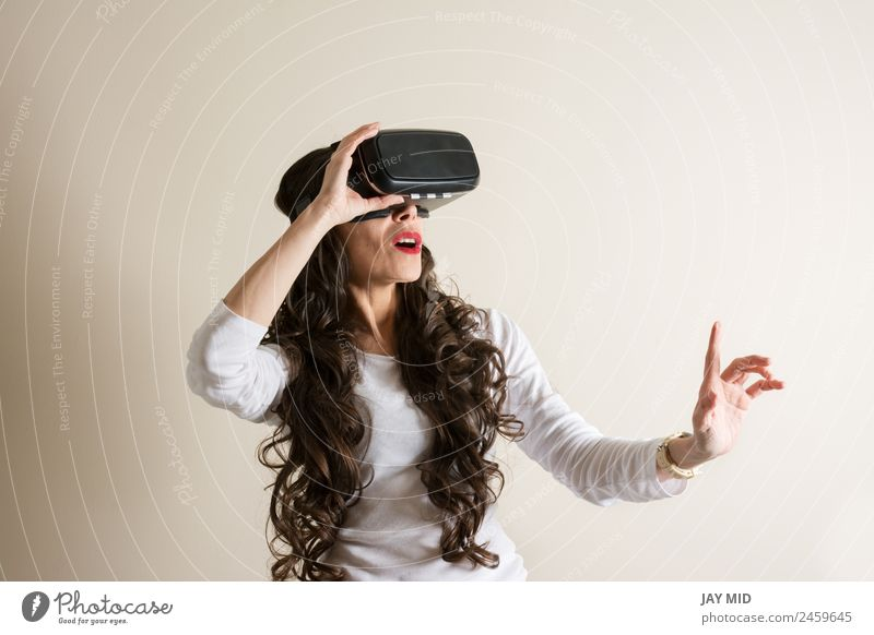 woman with glasses of virtual reality vr Virtual Realism Woman Headset Eyeglasses Person wearing glasses Devil 3d Cellphone Entertainment Telephone Video Modern