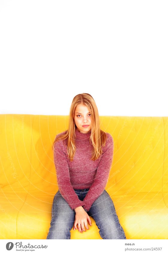Human being Woman Child Youth (Young adults) Blue Beautiful White Colour Young woman Adults Face Yellow Feminine Pink Body Sit
