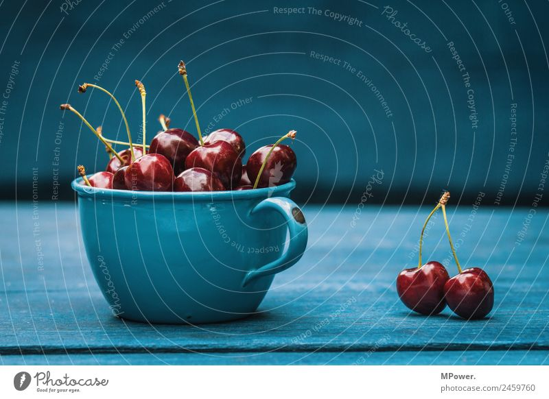 delicious sour cherries Cherry Food Fruit Beautiful Sweet Delicious Red Blue Cup Organic produce Fresh Crunchy Healthy Healthy Eating Vitamin-rich Wooden table