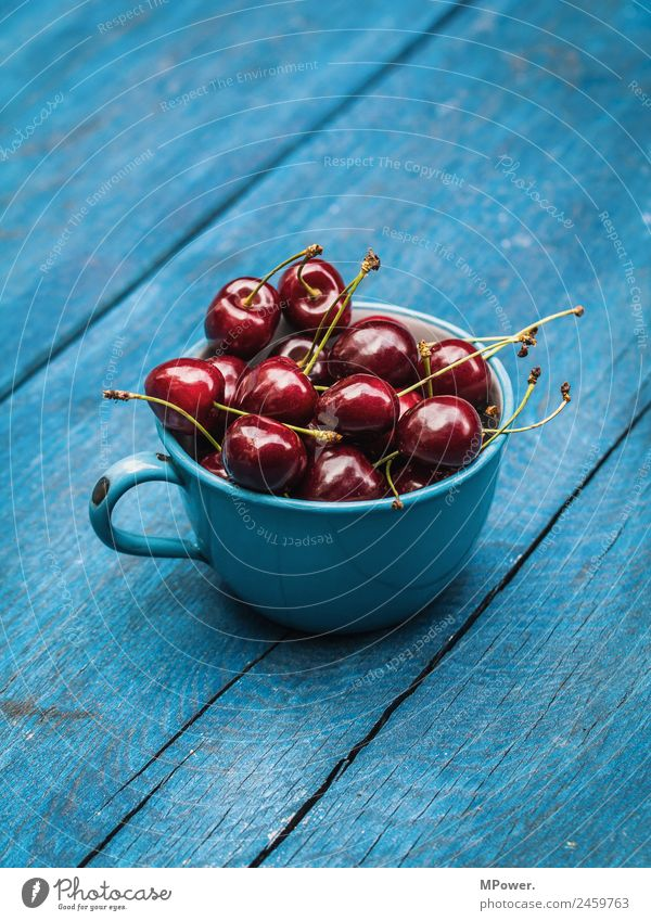 delicious sour cherries Food Delicious Cherry Red Blue Cup Organic produce Fresh Crunchy Healthy Vitamin-rich Wooden table Colour photo Exterior shot Close-up