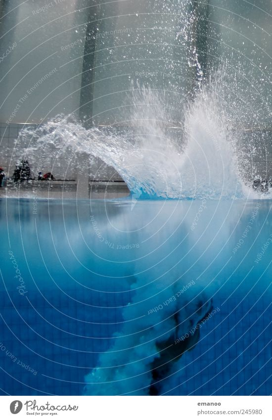 Human being Water Blue Joy Life Cold Jump Air Wet Flying Drops of water Lifestyle Swimming pool To fall Fitness Sports Training