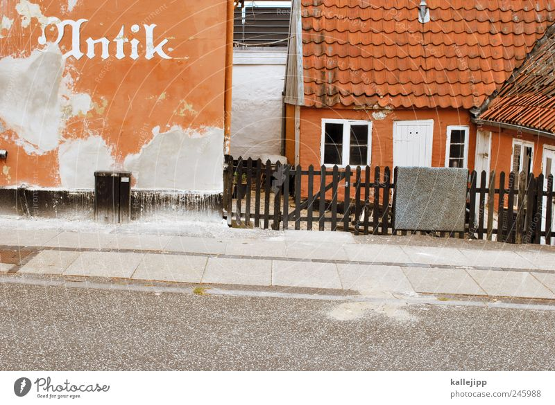 old town Village Small Town Old town House (Residential Structure) Wall (barrier) Wall (building) Window Door Doormat Hang Fence Sidewalk Street Denmark