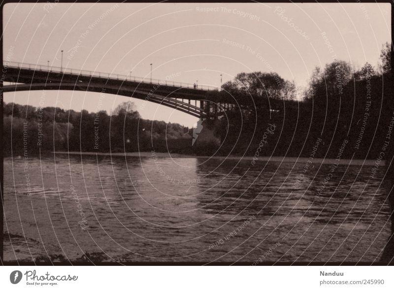 liaison Bridge Retro Sepia Analog River Isar Boating trip Exterior shot Summer Black & white photo Experimental