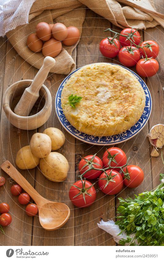Traditional spanish omelette. Vegetable Nutrition Lunch Dinner Pan Life Restaurant Green White Spain Baking Basil Linen Cooking Dish Garlic Omelette Onion