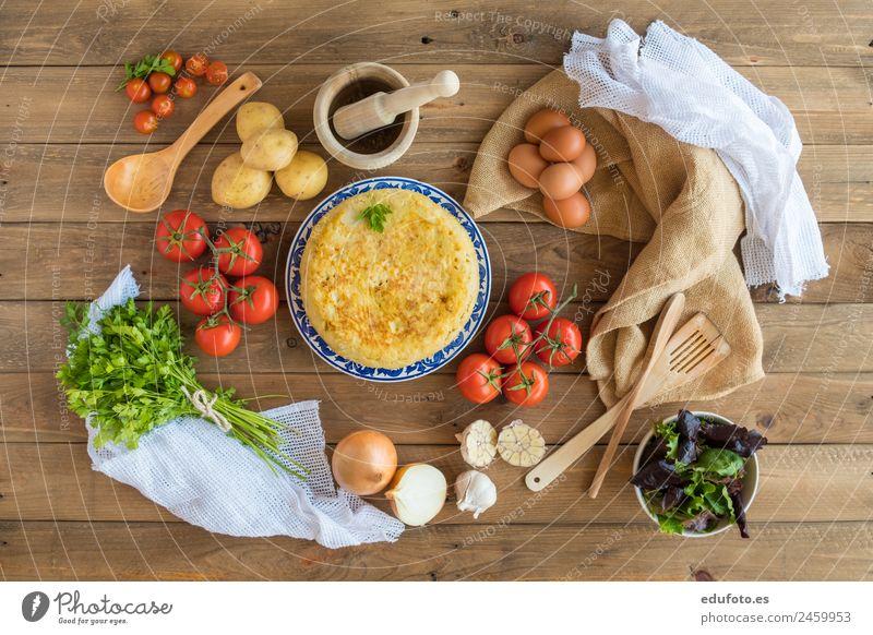 Traditional spanish omelette. Vegetable Nutrition Lunch Dinner Plate Lifestyle Healthy Eating Restaurant Authentic Fresh Green White Spain Baking Basil Linen