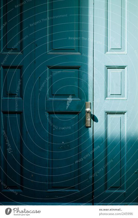 Blue Door Closed Turquoise Bell Rectangle Front door Doorknob