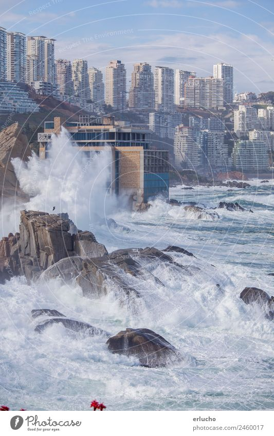 Vina del Mar, Chile Vacation & Travel Ocean Waves Nature Weather Storm Wind Rock Coast Beach Town Skyline High-rise Tower Building Architecture Facade Natural