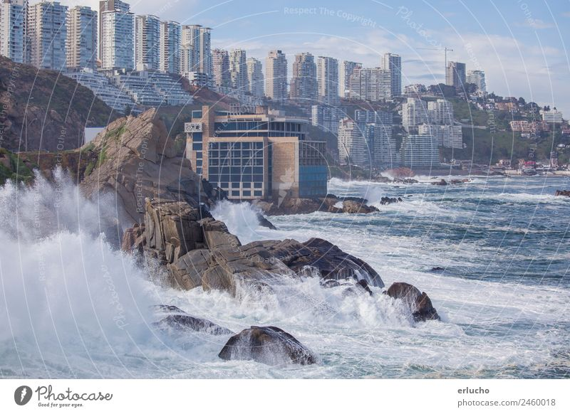 Vina del Mar, Chile Nature Blue Town Water Ocean Beach Architecture Environment Natural Coast Building Facade Rock Weather Waves High-rise