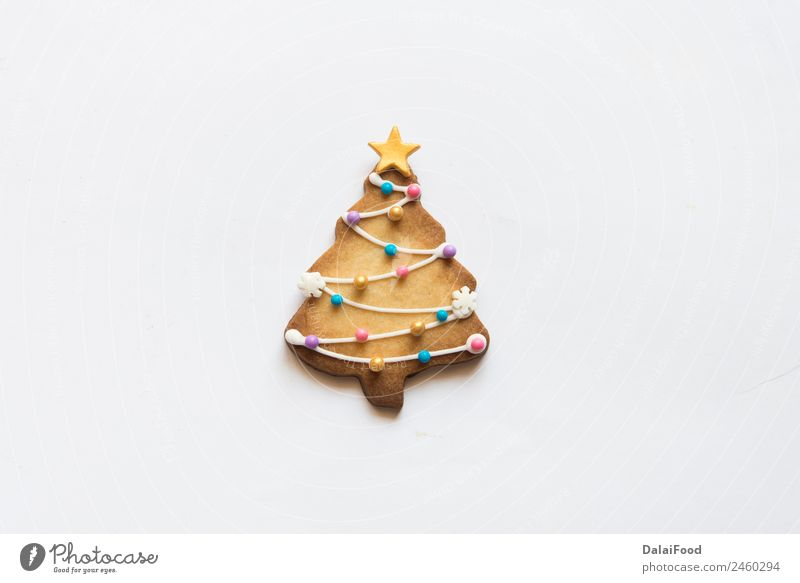 Christmas cookies tree isolated Child White Joy Winter Happy Brown Decoration Culture Gift Herbs and spices Delicious Tradition Dessert Bread Craft (trade) Set