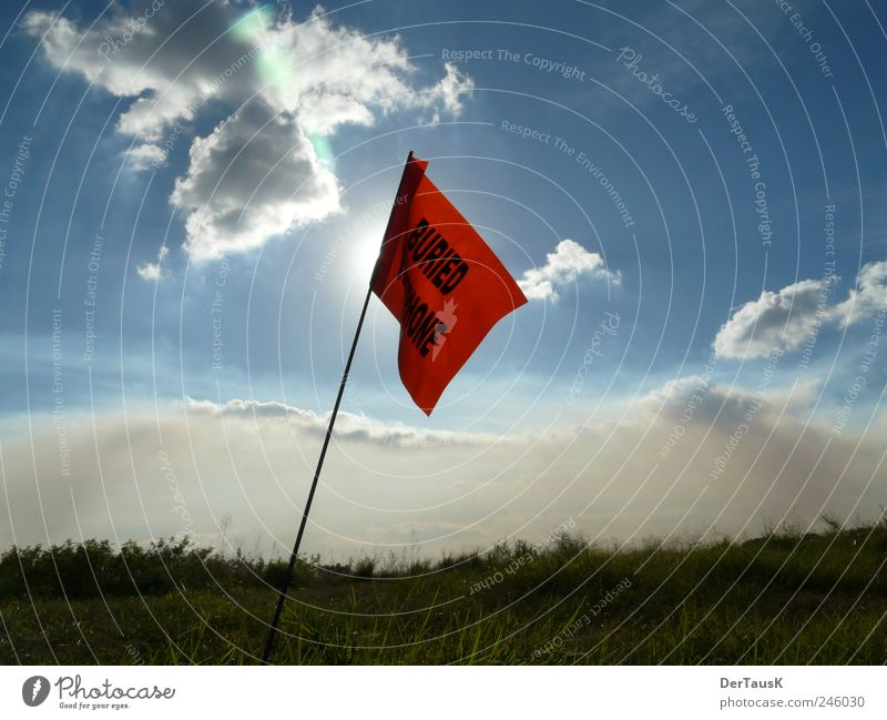 Sky Nature Blue Red Sun Summer Vacation & Travel Loneliness Freedom Landscape Field Horizon Signs and labeling Communicate Flag Signage
