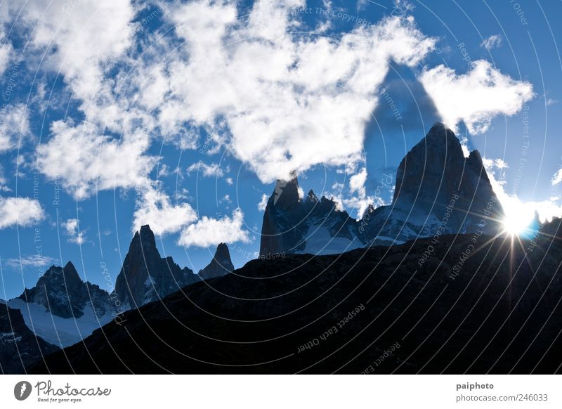 Fitz Roy & Co. projected Climbing Mountaineering Landscape Earth Sky Clouds Horizon Sun Sunrise Sunset Summer Winter Ice Frost Snow Park Rock Patagonia