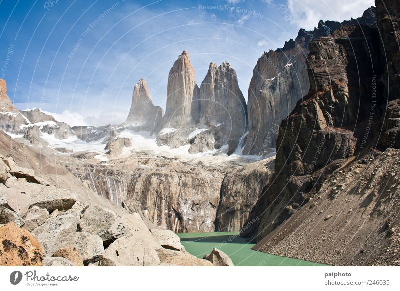 Torres del Paine Vacation & Travel Summer Calm Landscape Cold Mountain Wild Travel photography River Beautiful weather Peak Americas Chile Valley Cloudless sky