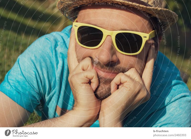 Man with sunglasses and hat Well-being Contentment Relaxation Vacation & Travel Trip Summer Summer vacation Masculine Adults Head Face Hand Fingers