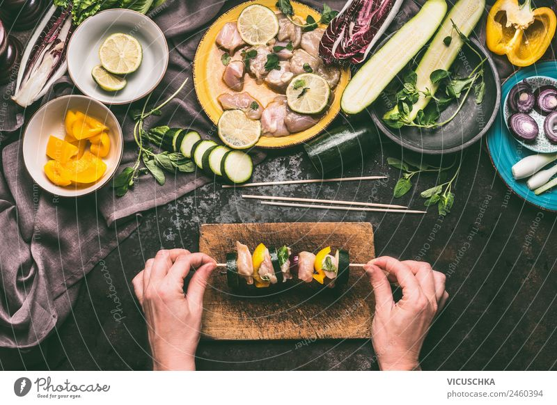 Female hands hold meat skewer with vegetables Food Meat Vegetable Nutrition Picnic Organic produce Style Design Living or residing Human being Feminine