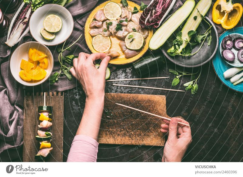 Female hands making meat and vegetable skewers Food Meat Vegetable Lettuce Salad Nutrition Organic produce Crockery Human being Feminine Family & Relations Hand