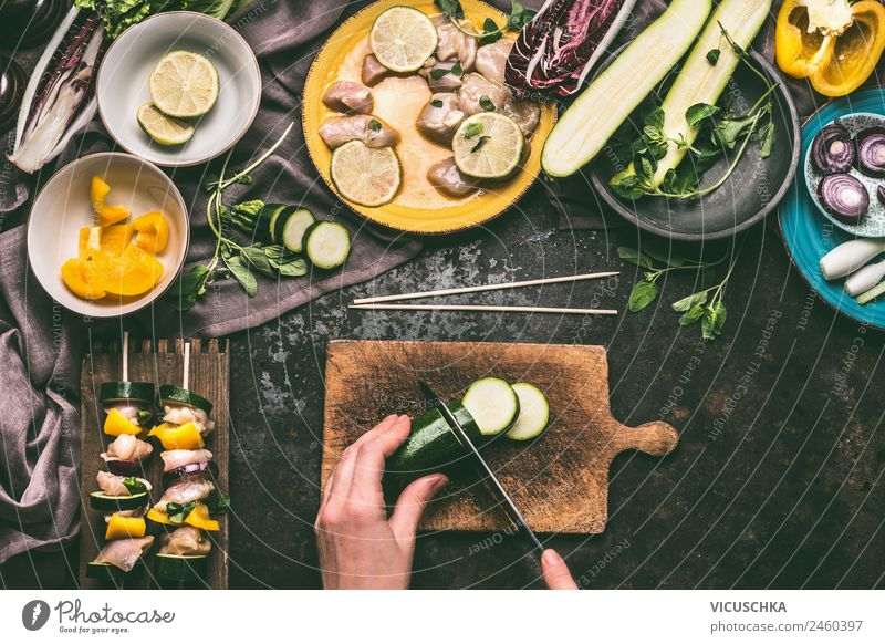 Female hands cut vegetables for grill Food Meat Vegetable Nutrition Picnic Organic produce Style Design Summer Living or residing Feminine Hand