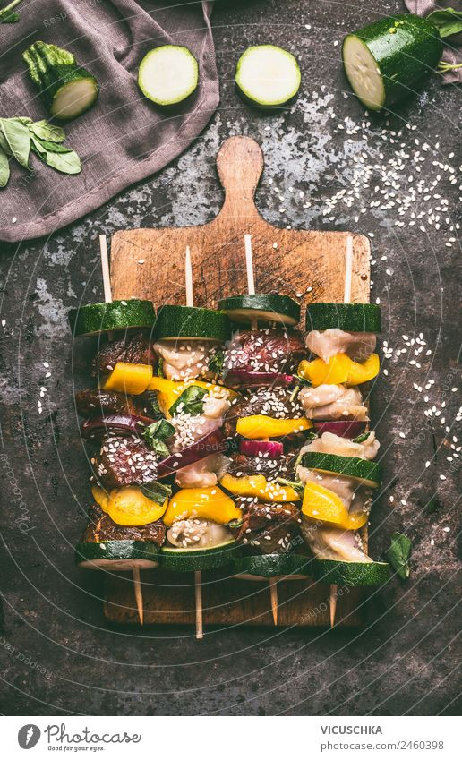 Various meat skewers with vegetables on cutting board Food Meat Vegetable Herbs and spices Nutrition Lunch Picnic Organic produce Style Design Table Kitchen