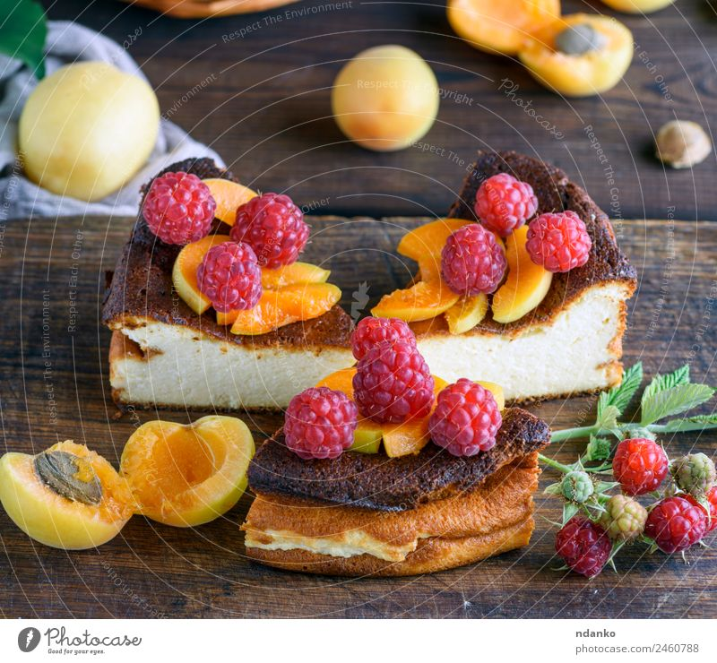 pieces of cottage cheese pie Cheese Fruit Dessert Candy Nutrition Table Eating Fresh Bright Delicious Brown Red White Colour Raspberry Apricot cheesecake