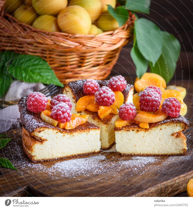 pieces of cottage cheese pie Cheese Fruit Cake Dessert Candy Nutrition Table Fresh Delicious Brown Red White Colour Raspberry Apricot cheesecake Berries food
