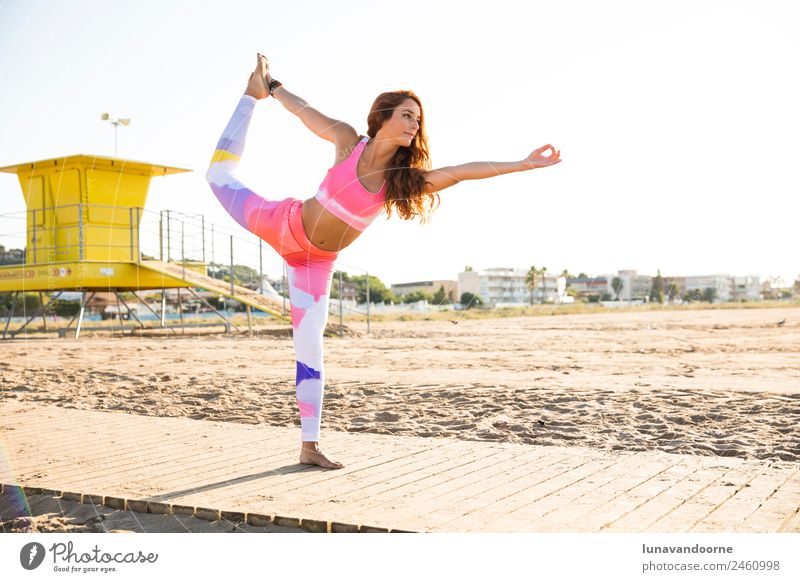 Woman practicing yoga in the beach Lifestyle Sports Fitness Sports Training Yoga Feminine Adults 1 Human being 18 - 30 years Youth (Young adults) Red-haired