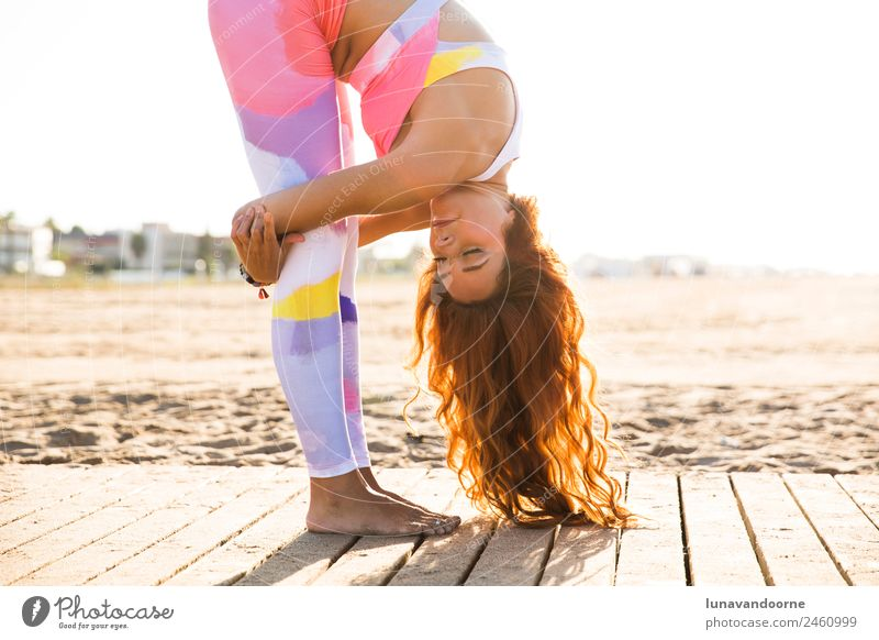 Woman practicing yoga, concept of self-care. Lifestyle Sports Fitness Sports Training Yoga Feminine Adults 1 Human being 18 - 30 years Youth (Young adults)