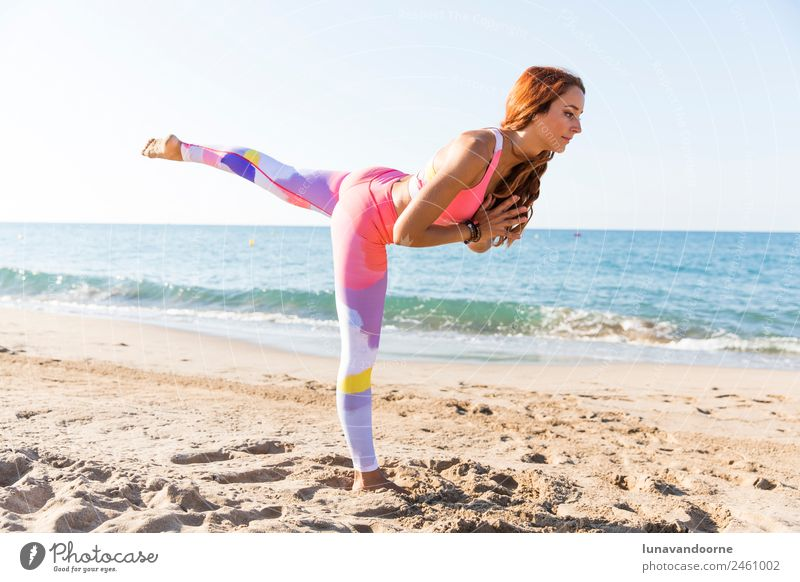 Woman practicing yoga at the beach Lifestyle Sports Fitness Sports Training Yoga Feminine Adults 1 Human being 18 - 30 years Youth (Young adults) Athletic Thin