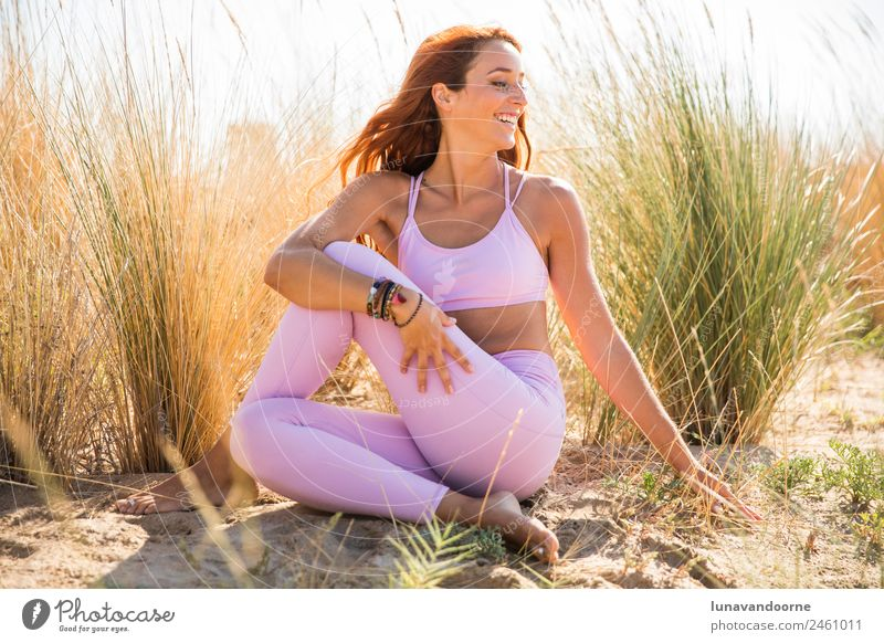 Woman practicing yoga at the beach Lifestyle Sports Fitness Sports Training Yoga Feminine Adults 1 Human being 18 - 30 years Youth (Young adults) Friendliness