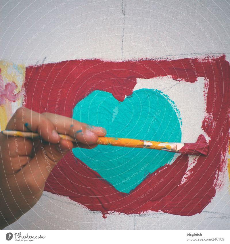 sweetheart Kindergarten Schoolchild Hand Fingers Art Artist Painter Paintbrush Heart Draw Green Red Love Painting (action, artwork) Colour photo Exterior shot