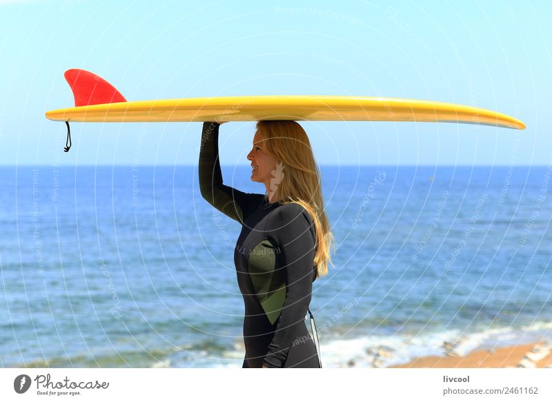 Surfer woman Beach Ocean Waves Sports Human being Feminine Woman Adults Body Sky Coast Blonde Eroticism attractive France Europe Basque Country Blue sky