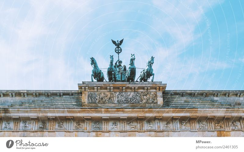 Brandenburg Gate Art Sculpture Architecture Capital city Wall (barrier) Wall (building) Old Berlin Sky Germany Bronze sculpture Horse Landmark Tourism