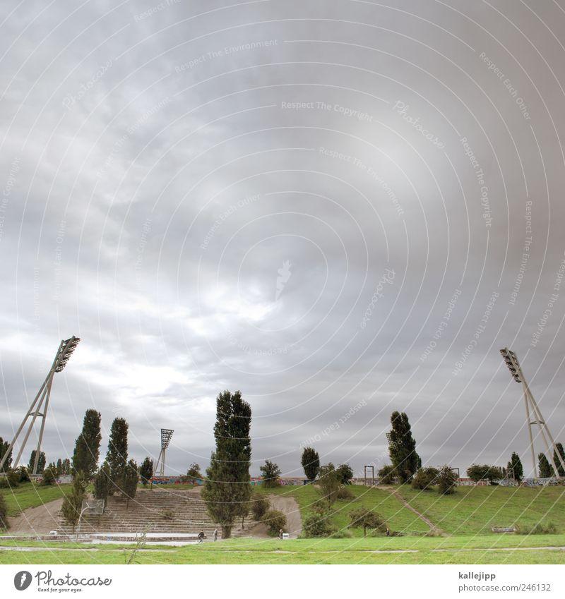 Clouds Meadow Berlin Mountain Grass Park Lifestyle Hill Capital city Mast Stadium Floodlight Poplar