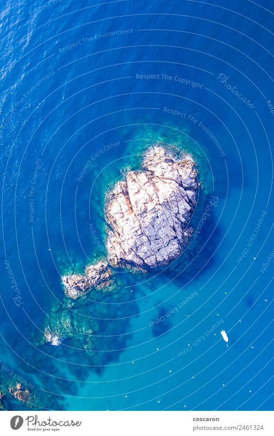 Aerial view of rocks in the coast of Costa Brava , Spain. Beautiful Vacation & Travel Tourism Summer Beach Ocean Nature Landscape Water Sky Rock Coast Aircraft