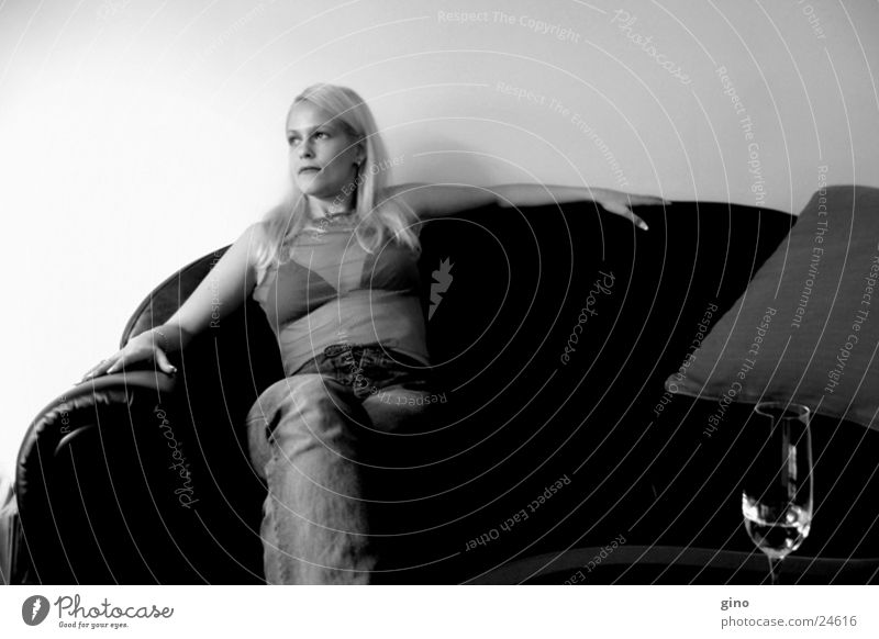 the couch Sofa Blonde Feminine Light Things Black & white photo Shadow